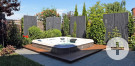 Whirlpool mit Holzumrandung, Terrasse aus Granitplatten sowie Sichtschutz mit Schieferstelen und Bambuselementen mit angerostetem Stahl.